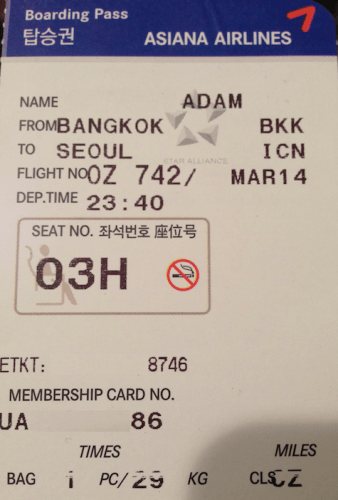 Bangkok to Seoul Asiana TIcket