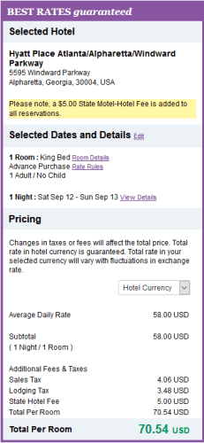 Hyatt $70.54 Per Night