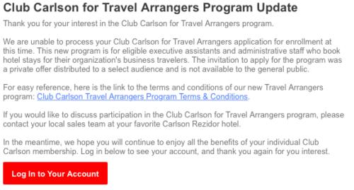 Club Carlson No Go
