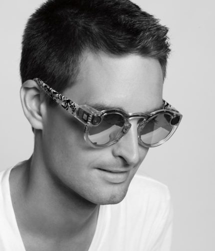SEvan Spiegel, CEO of Snapchat, wearing Spectacles. Photo by the WSJ.