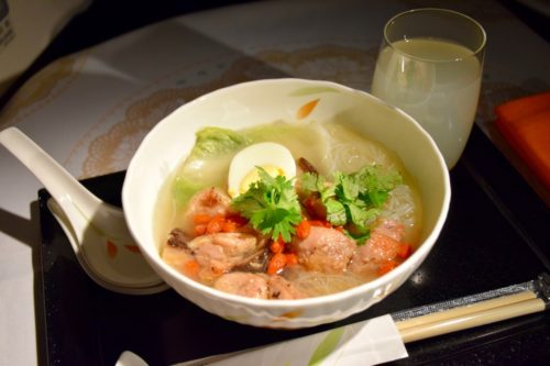 EVA Air Royal Laurel Class - Noodle Soup with Mushroom and Chicken