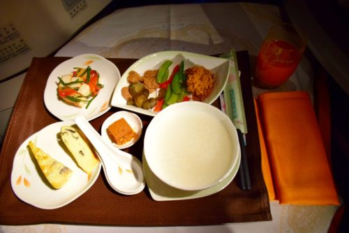 "EVA Air Royal Laurel Class - ""Chinese Style"" Breakfast"
