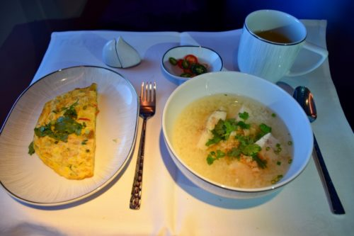 Thai Airways 777 Business Class Boiled Rice with Red Snapper Served with Thai Omelet with Onion, Red Chili, and Spring Onion