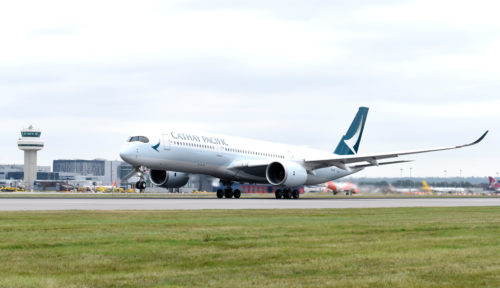 Cathay Pacific A350 in London-Gatwick