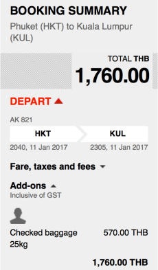AirAsia Total Fare