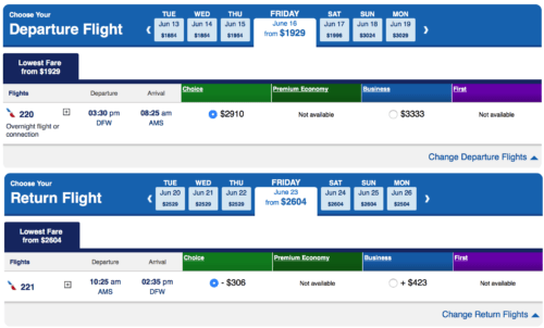 American Airlines DFW-AMS Pricing