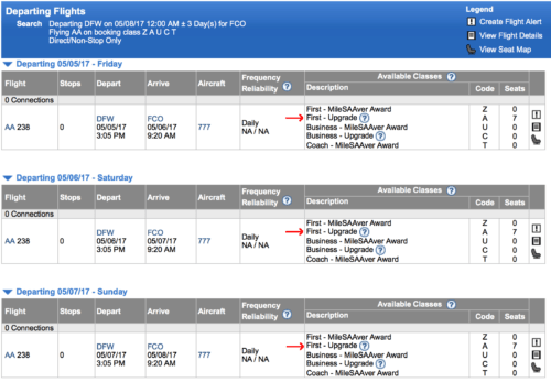 Upgrade availability is wide open for DFW-FCO flights