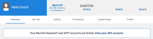 Your SPG/Marriott status will be matched immediately