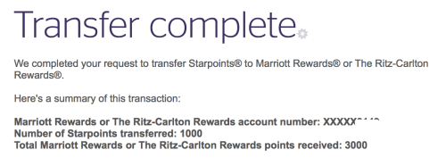 Transfers between Starpoints and Marriott Rewards points are instant