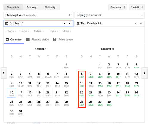 Clicking on the calendar reveals pricing for different departure or arrival dates.