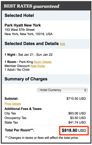 The cash rate for Park Hyatt New York is $818 after taxes on January 21