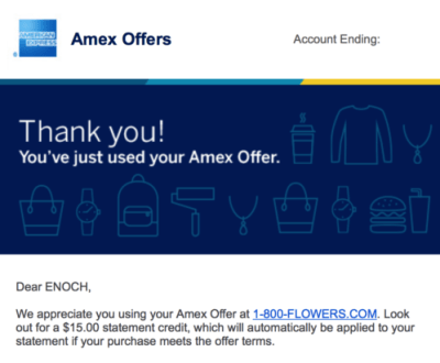 American Express sent me an email right away confirming that I'd redeemded my Amex Offers
