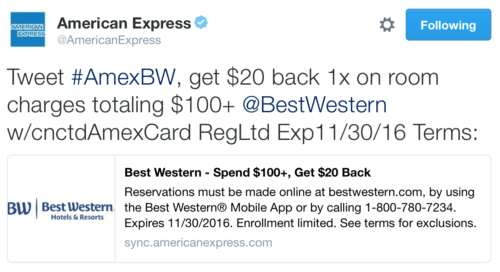 An example of an Amex Offer on Twitter.