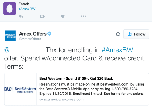 American Express immediately tweets back to confirm your enrollment in an offer.
