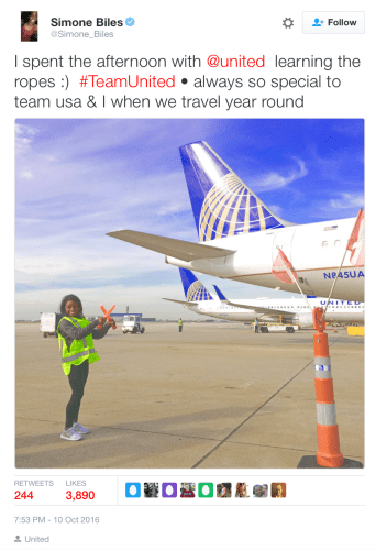 Simone Biles tweeted about her experience at O'Hare