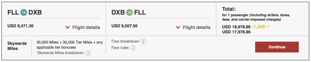 Save $1000 off roundtrip First Class tickets