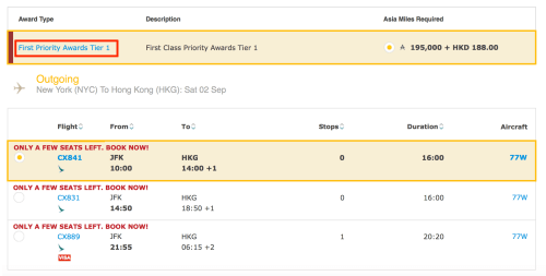 Cathay Pacific is only making Priority Awards available on certain dates