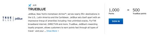1000 ThankYou Points = 500 TrueBlue Points for Citi ThankYou Preferred or Citi Forward cardmembers