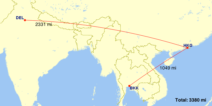 This itinery routes from New Delhi to Bangkok via Hong Kong.
