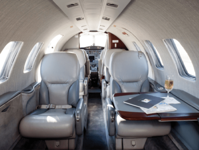 "Delta Private Jet's Citation Bravo, a ""Light Jet"" option, which seats up to 9 passengers. Photo by Delta Private Jets."