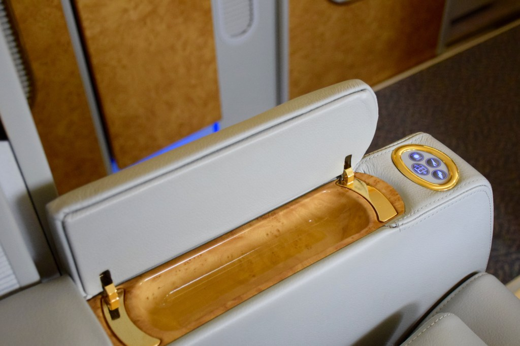 Emirates First Class A380 Armrest