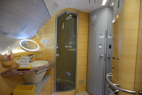 Emirates A380 First Class Onboard Shower Spa