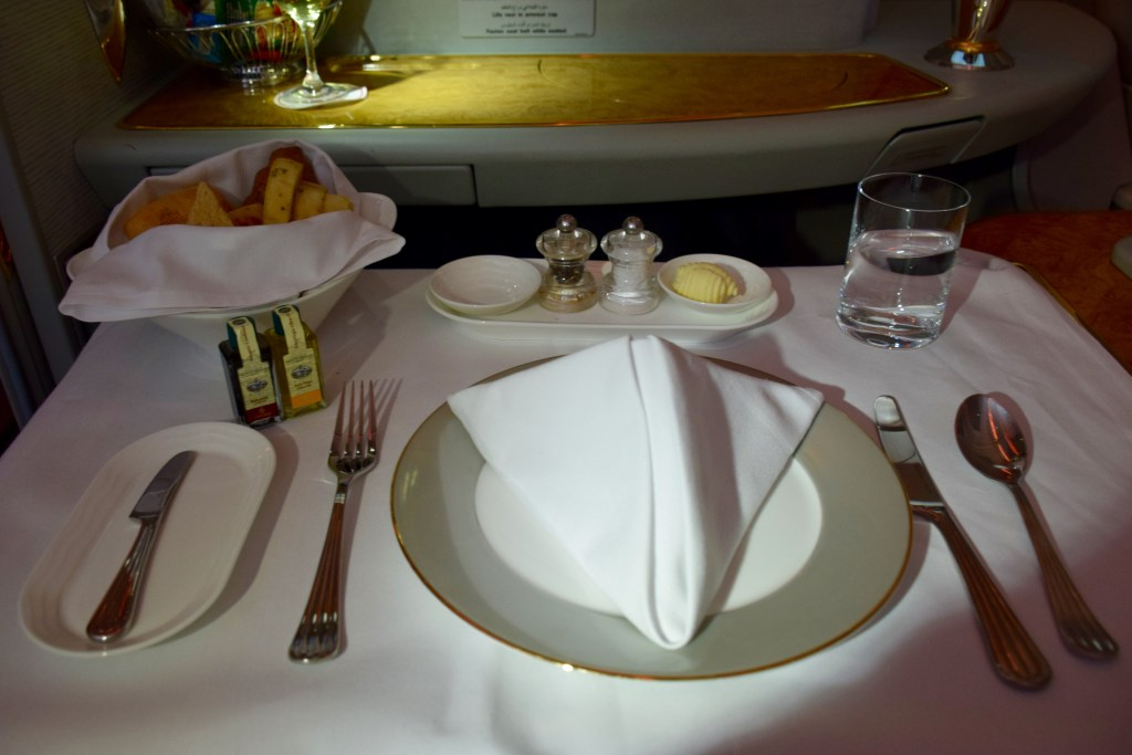Emirates First Class A380 Meal Service
