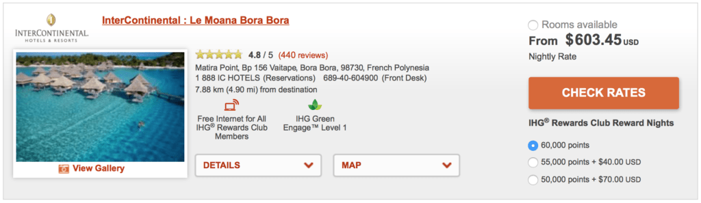 Redeem 60,000 points for a free night at the InterContinental Le Moana Bora Bora, or pay over $600 a night!