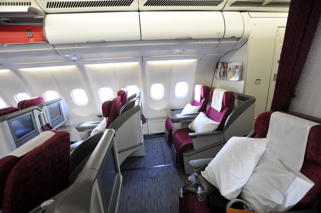Qatar Airways Business Class A330. Photo by Pyonko Omeyama, used with permission.