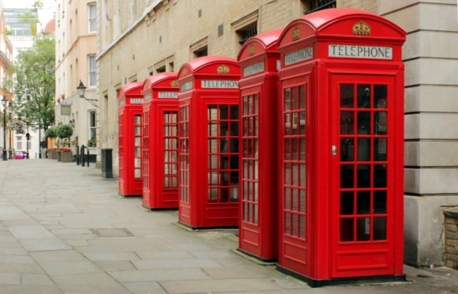 Red phone boxes on Broad Court, Covent Garden, London. Photo by M0tty, used with permission.