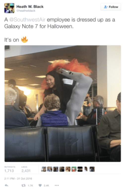 A Southwest agent dressed up as the Samsung Galaxy Note 7 at Salt Lake City airport. @heathwblack/Twitter