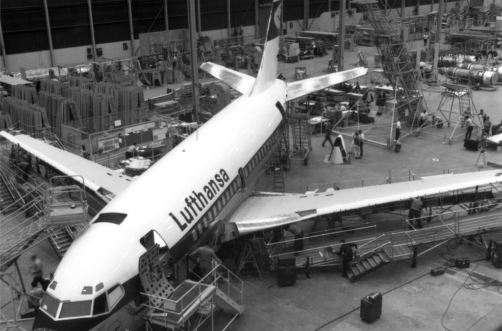 Lufthansa Boeing 737 in Seattle, circa 1967.  Source: Boeing / Lufthansa