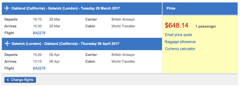 Fly between Oakland and London-Gatwick for less than $650