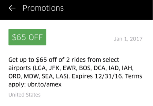 Get 2 free Uber rides from selected airport, courtesy of American Express!