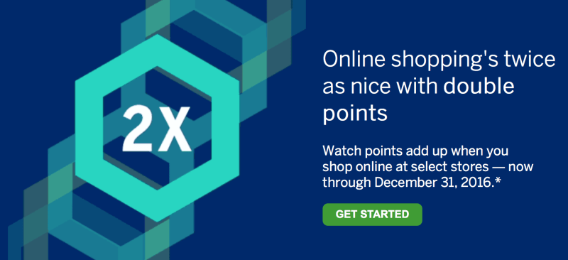 Earn 2x American Express Membership Rewards points at selected merchants when you shop online through the end of 2016.