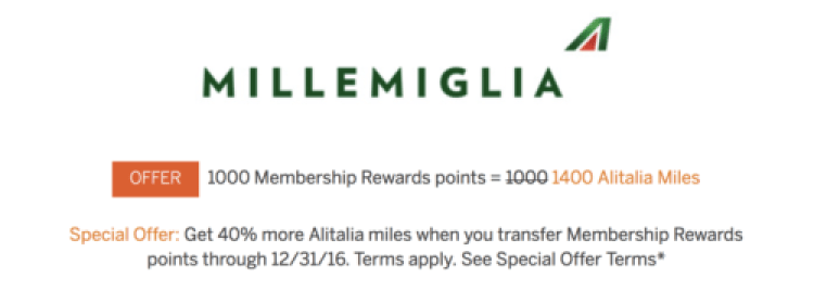 American Express is offering a 40% bonus when you transfer points to Alitalia