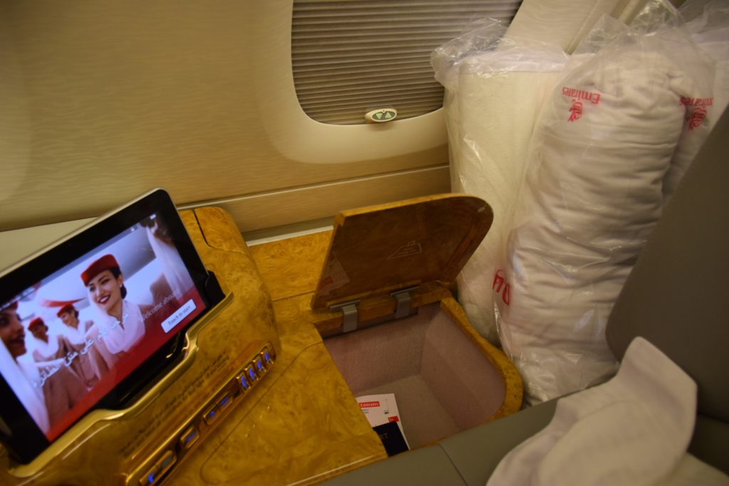 Emirates A380 First Class - Storage