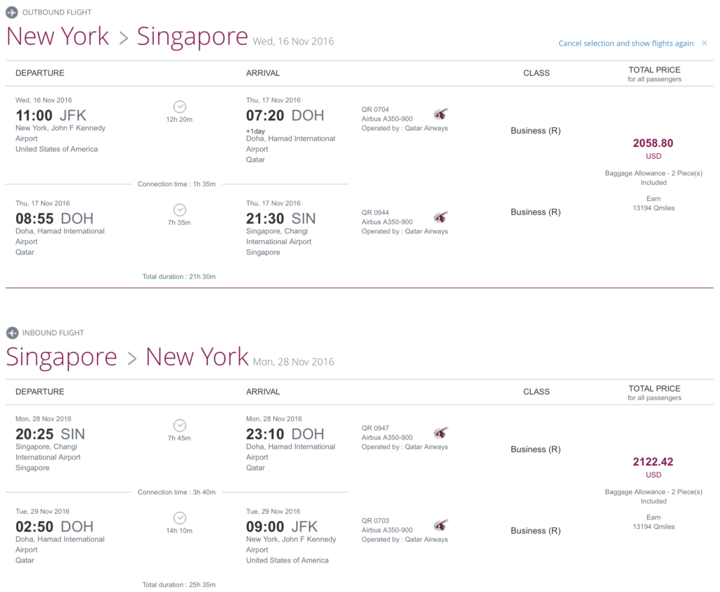 Fly from New York (JFK) to Singapore (SIN) for less than $2100 roundtrip per person!