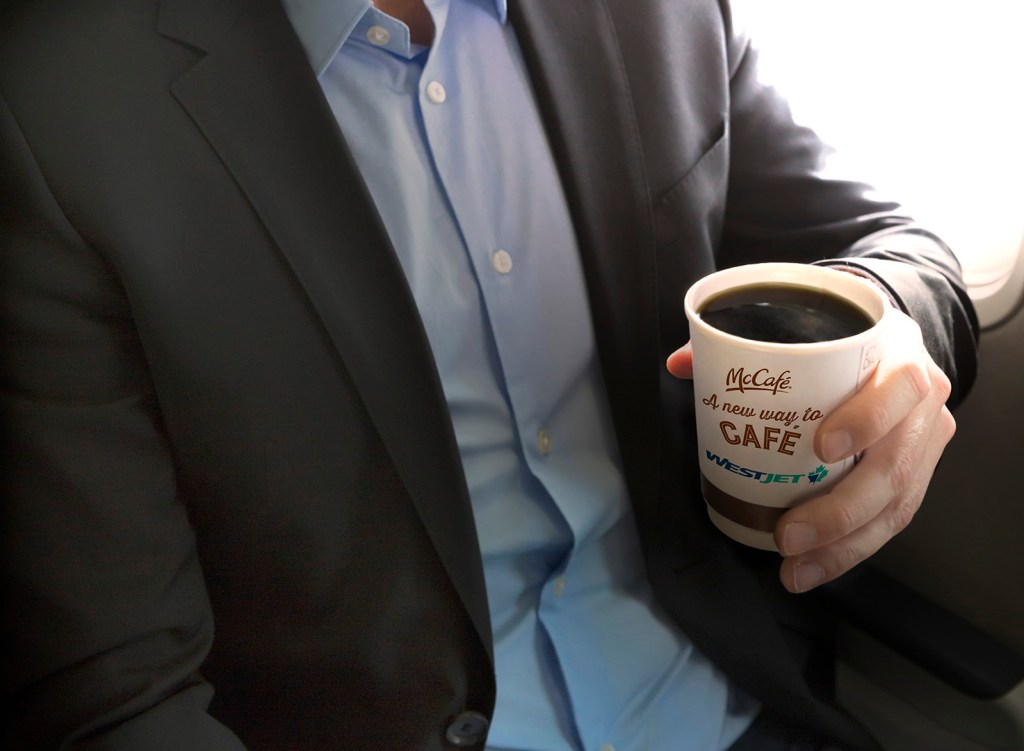 WestJet will start serving McDonald's McCafe coffee onboard. Source: WestJet