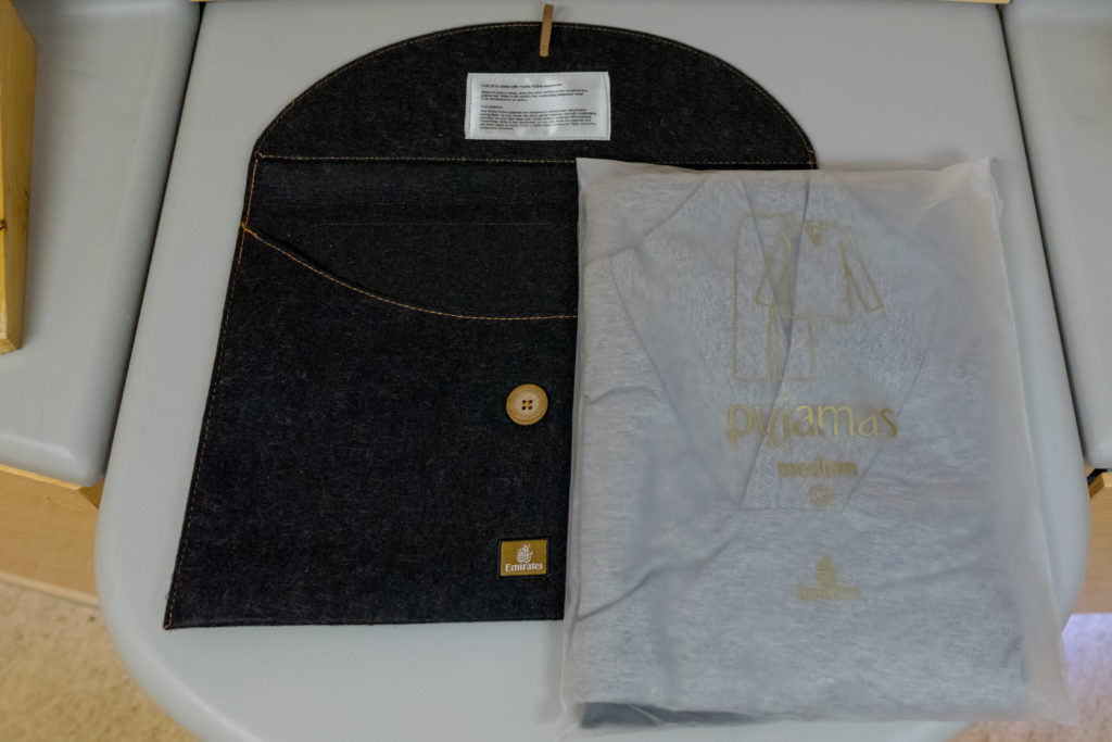 The new Emirates First Class pajamas come with a nice felt pouch. Photo by the author.