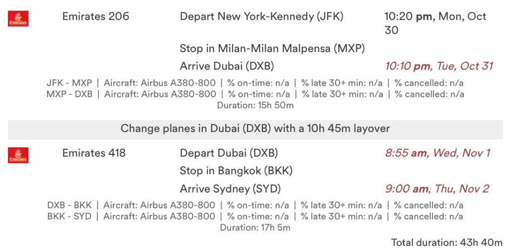 You can now fly from New York to Sydney via Milan, Bangkok, and Dubai in Emirates First Class for 225,000 Alaska miles.