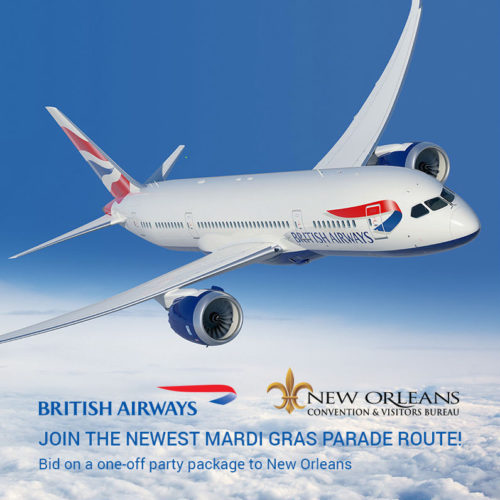 British Airways is running a charter flight between London and New Orleans for Mardi Gras 2017. British Airways/eBay