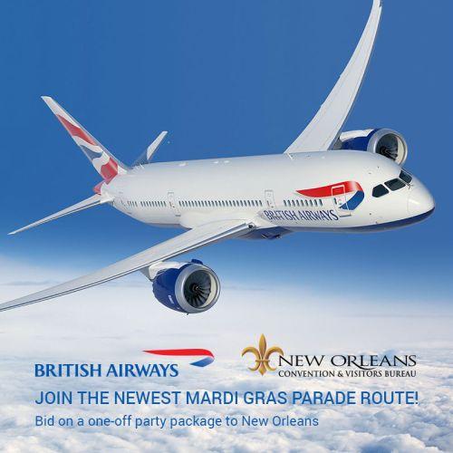 British Airways is running a charter flight between London and New Orleans for Mardi Gras 2017. British Airways/eBay