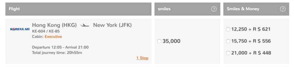 Fly from Hong Kong (HKG) to New York (JFK) for just 35,000 GOL Smiles one-way in Korean Business Class!