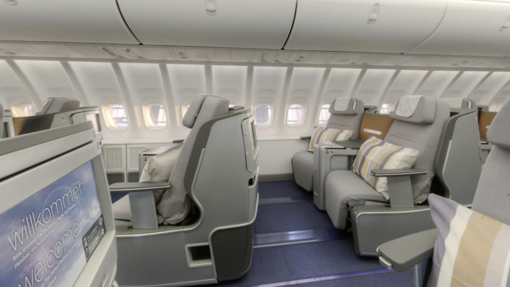 Lufthansa Business Class onboard the 747-8. The A350 will feat…