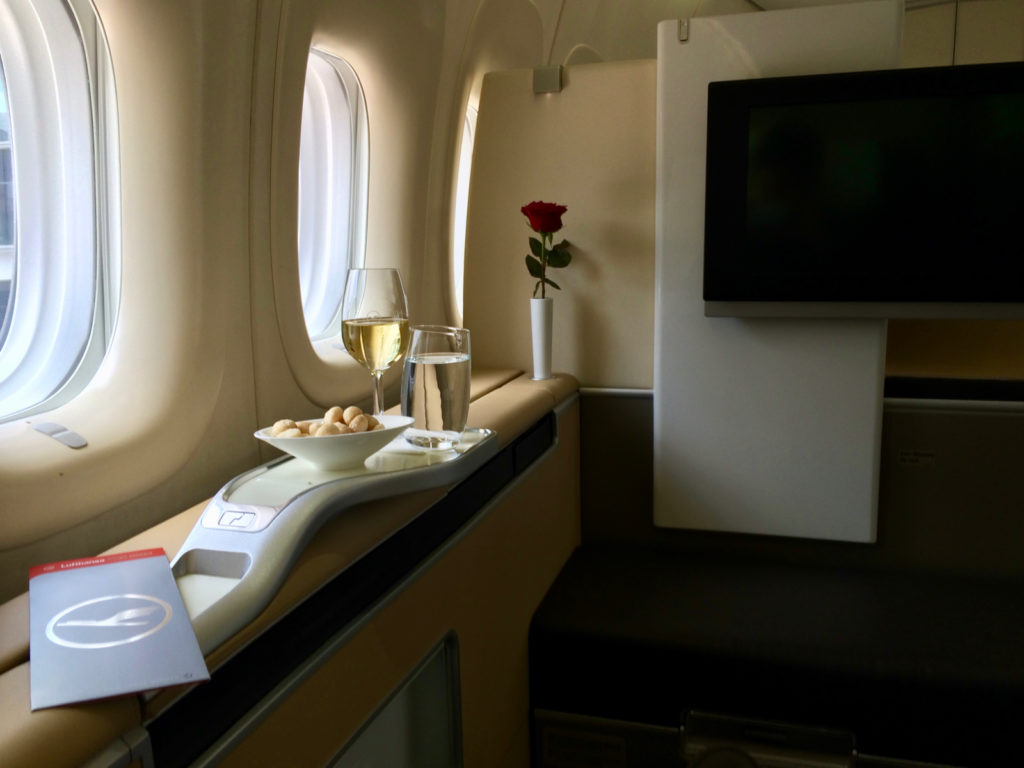 Lufthansa First Class on the 747. Photo by the author.