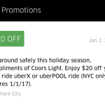 Use promo code LIGHTNYC16 for $20 off your next UberX or UberPOOL ride in New York City.