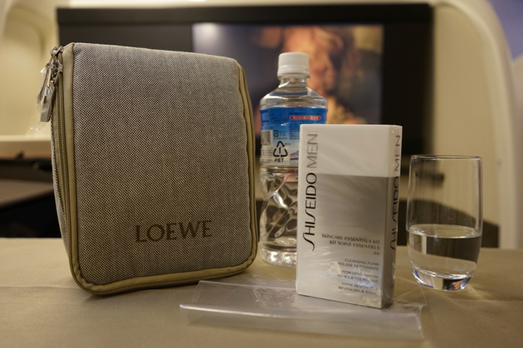Japan Airlines will continue to provide Shiseido skincare products in addition to the Porsche Design amenity kit. Photo by the author.