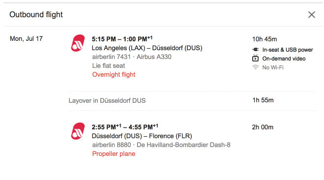 Air Berlin lie-flat business class routing, Los Angeles (LAX) to Dusseldorf to Florence.