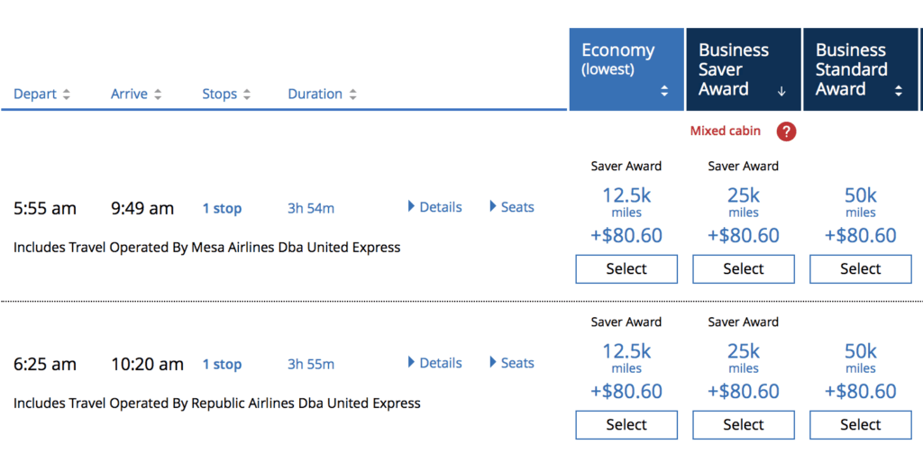 United charges 12,500 miles one-way in Economy, and 25,000 miles one-way in Business from Boston to Cincinnati.